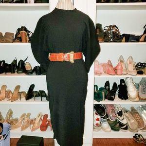 Zara all black long half sleeve Midi  dress